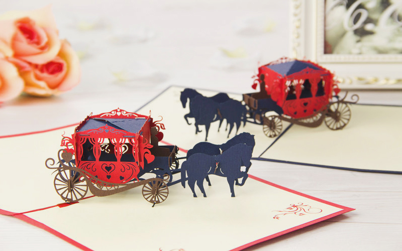 06-3D Pop Up Carriage Invitation
