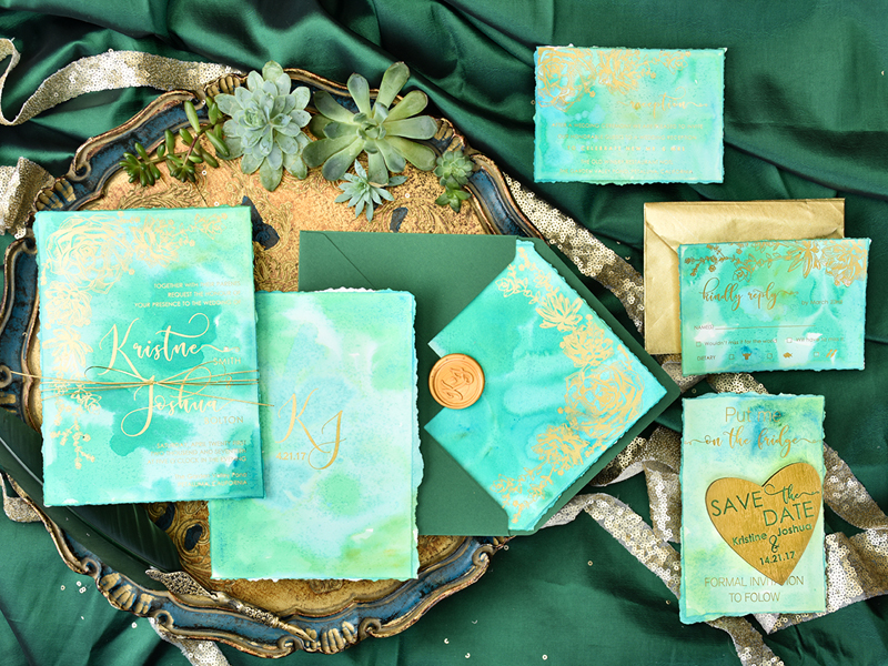 01-Greenery Watercolor Invitation