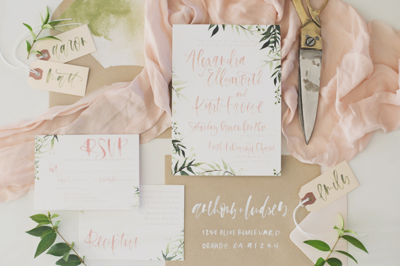 02-Blush + Olive Watercolor Botanical Invitation