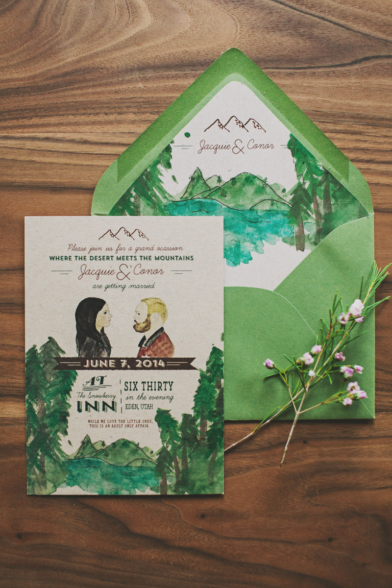 15-Watercolor Mountain Wedding invitation