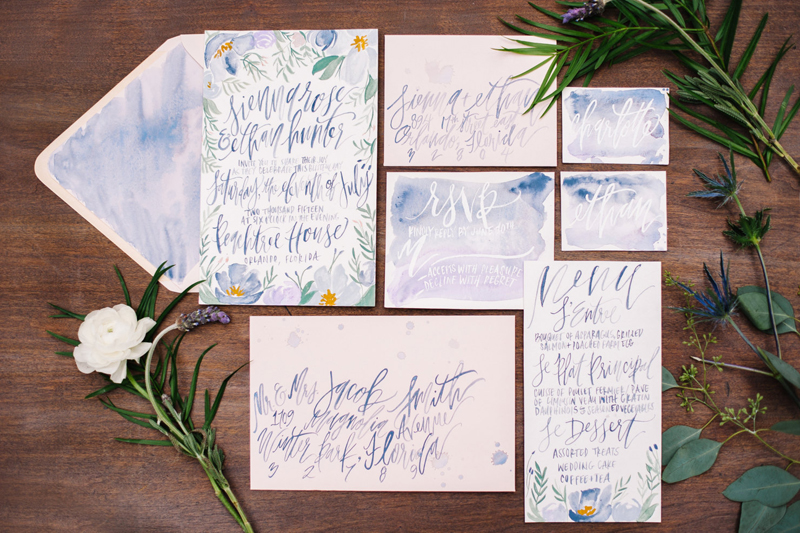 17-French Blue & Lavender Florals Painted Calligraphy Set