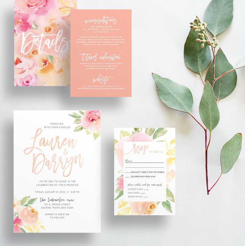 19-Peach Floral Invitations