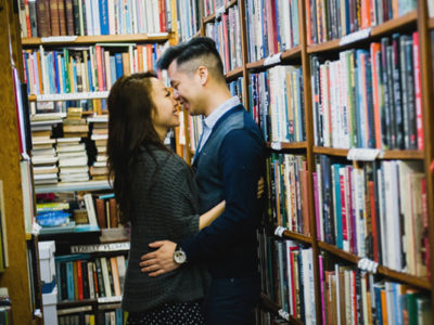Vintage Bookstore Engagement from BAKEPHOTOGRAPHY
