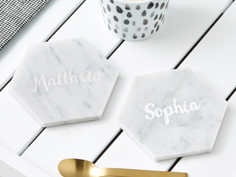 08-Personalised Hexagonal Marble Coaster