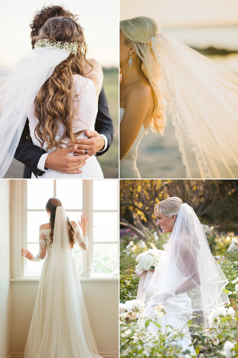 Chic bridal hairstyles that look good with veils praise wedding half up half down junglespirit