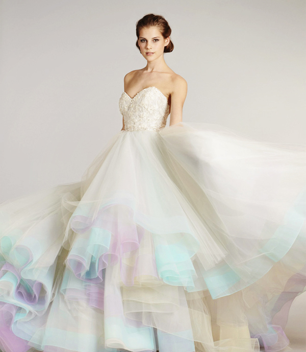 Color on White? 20 Beautiful White Wedding Dresses with a Touch of ...