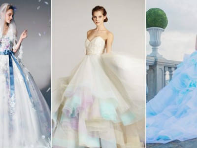 Color on White? 20 Beautiful White Wedding Dresses with a Touch of Color!