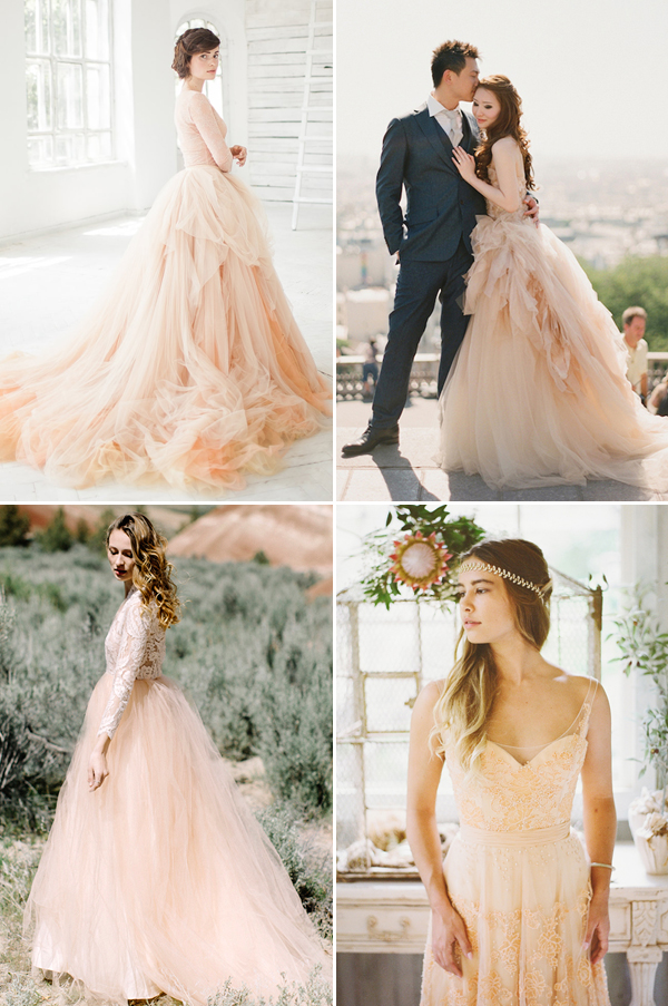 Non traditional wedding dresses with color bridesmaid for Non traditional wedding dress colors