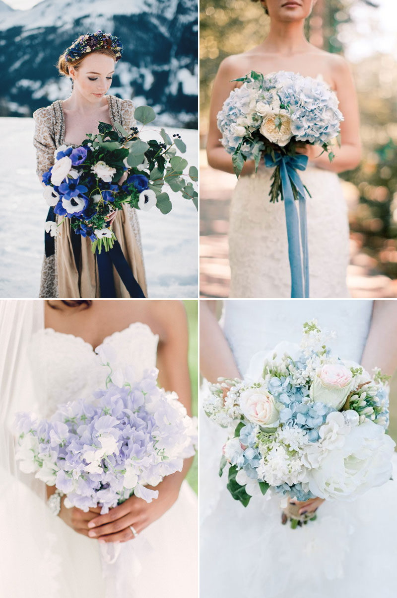 Something Blue Winter Wedding Bouquet