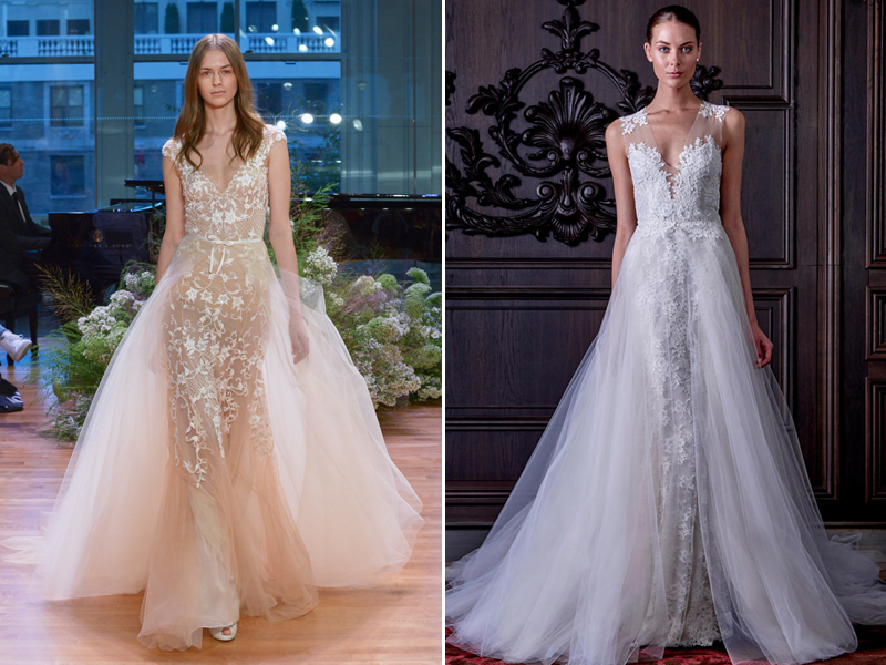 Two gowns in one 26 fashion forward convertible wedding dresses 14 monique lhuillier junglespirit Image collections