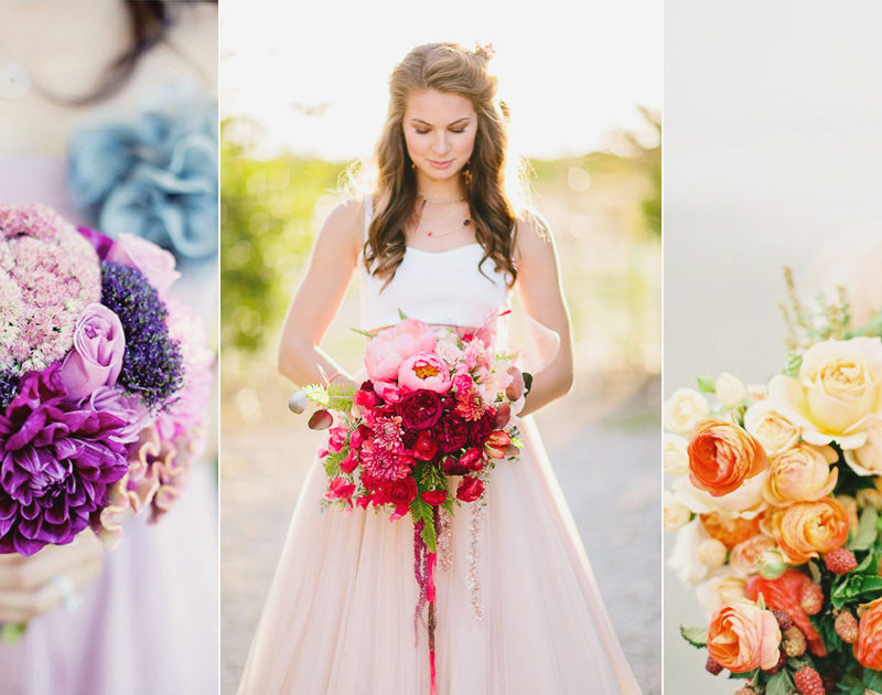 17 Eye-Catching Beautiful Ombré Wedding Bouquets