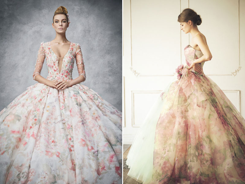 Blooming Trend! 25 Dreamy Wedding Dresses With Romantic Floral Print ...