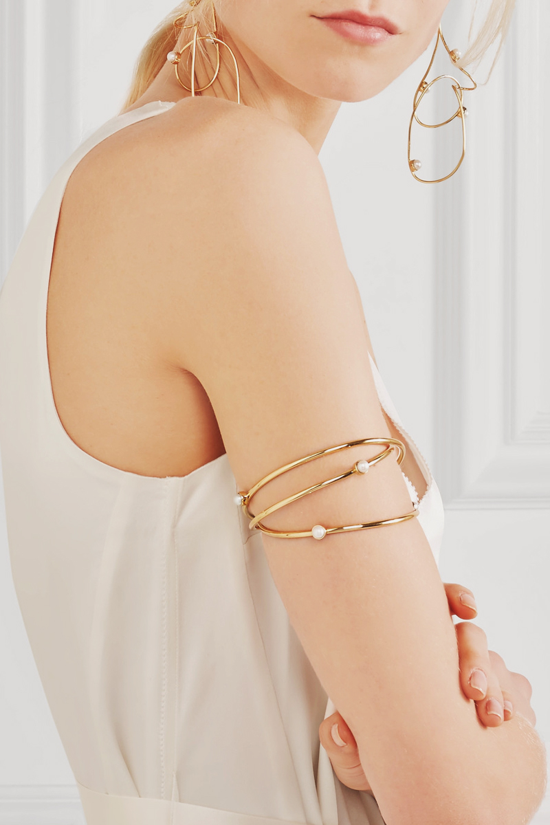 07-Gold-pleated Pearl Arm Curff