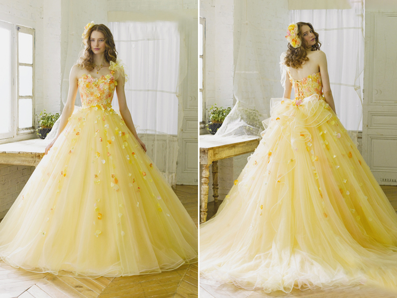 An Array of Sunshine! 20 Utterly Romantic Yellow Reception Gowns ...