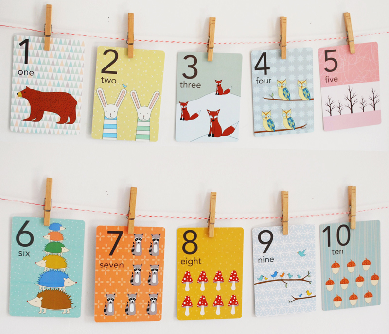 12-Forest Numbers Counting Card Set
