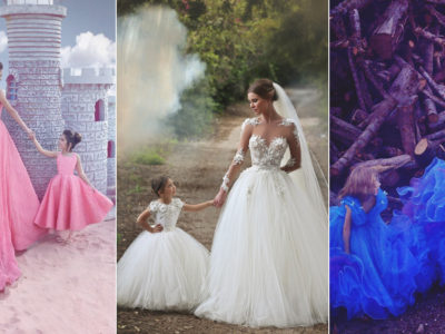 fba9e253835 Adorable Matching Gowns for The Bride and Her Flower Girl