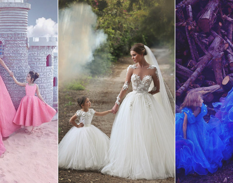 Here Comes the Mini Bride! Adorable Matching Gowns for The Bride and Her Flower Girl!