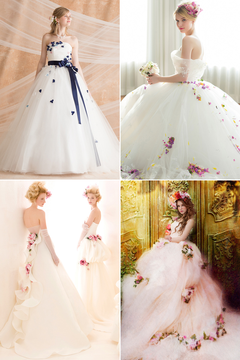 20 Romantic Wedding Dresses Featuring Colorful Embellishments ...
