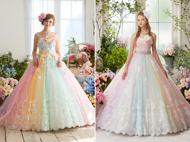 27 Princess-Worthy Wedding Dresses Featuring Pastel Color