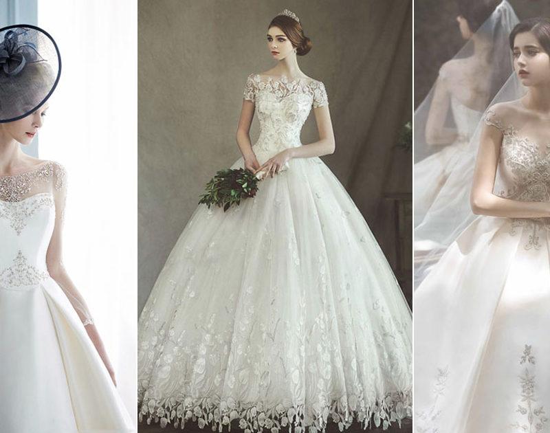 24 Elegant Wedding Dresses with Jeweled Botanical Embellishments