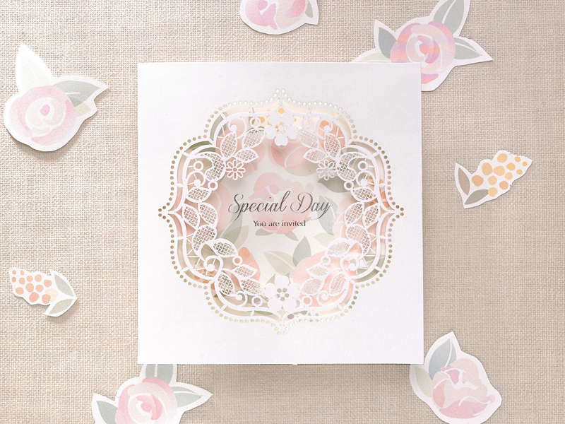 02-Romantic Rose Laser Cut Invitation