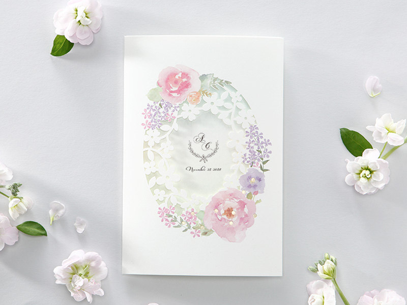 06-Watercolor Flower Laser Cut Invitation