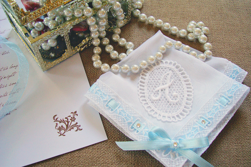 02-Something Blue Personalized Bridal Handkerchief