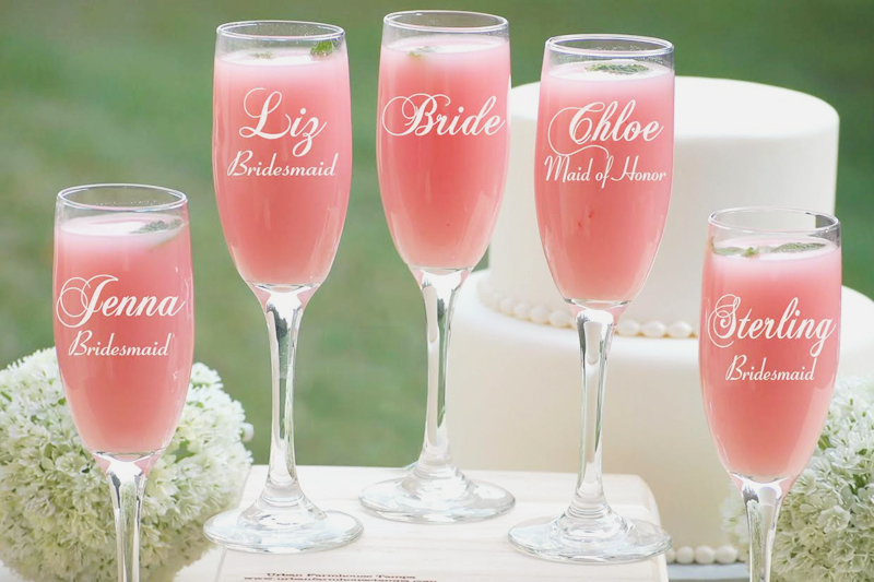 22-Set of 8 Personalized Champagne Flutes