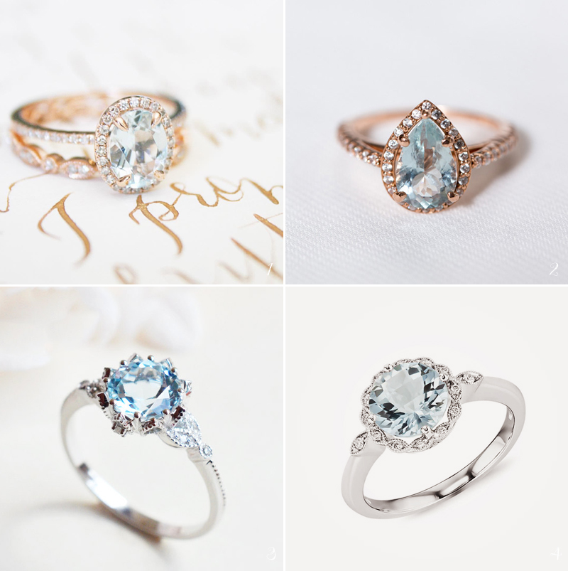 engagement colorful colored gallery rings with brides stones
