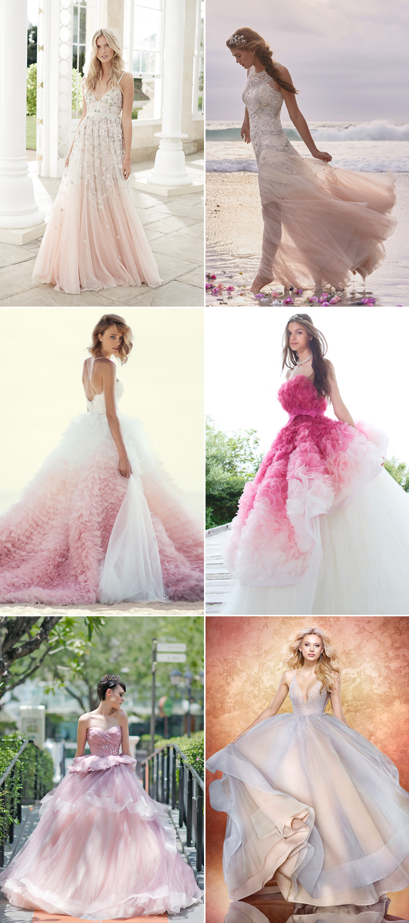 A dash of romance 30 wedding dresses with a touch of pink for Pink ombre wedding dress