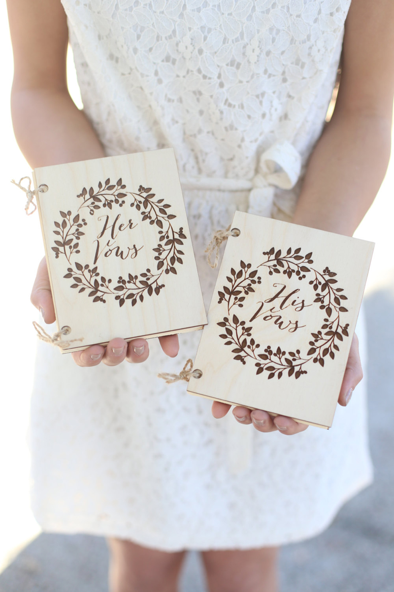 02-Barn Wedding Wood Vow Book Set