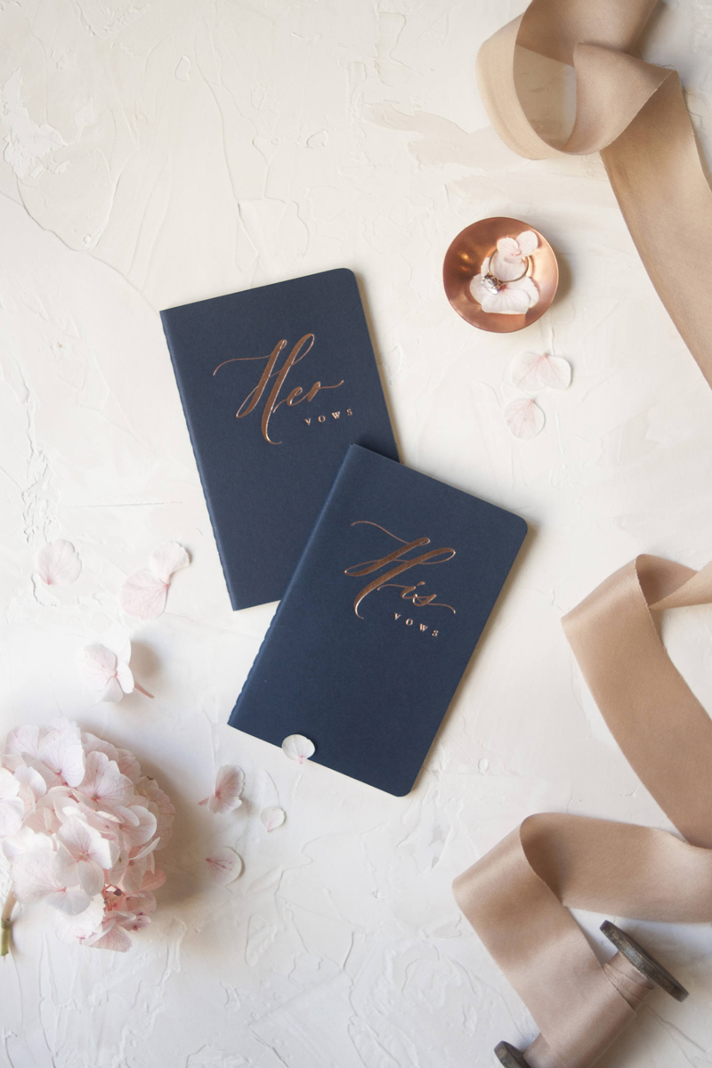 04-Navy Rose Gold Wedding Vow Books
