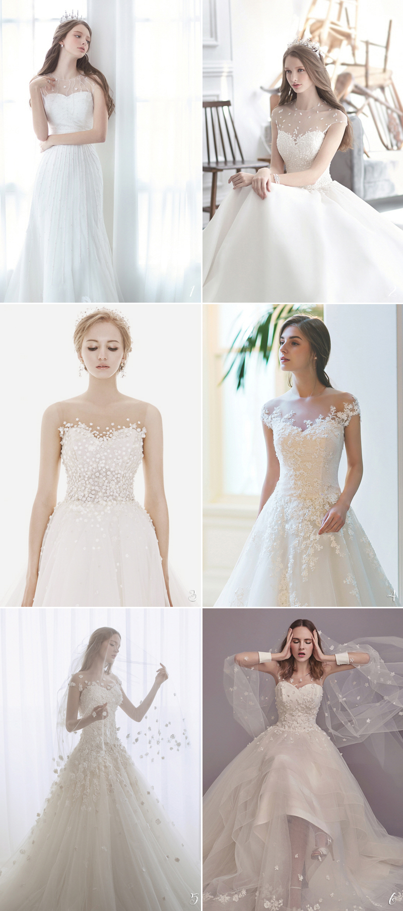 30 romantic wedding dresses with floral inspired neckline designs illusion neckline ombrellifo Choice Image