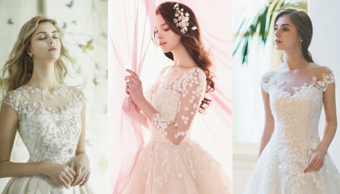 30 Romantic Wedding Dresses with Floral-Inspired Neckline Designs!