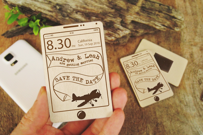 01-Save The Date Wooden Smartphone Magnet