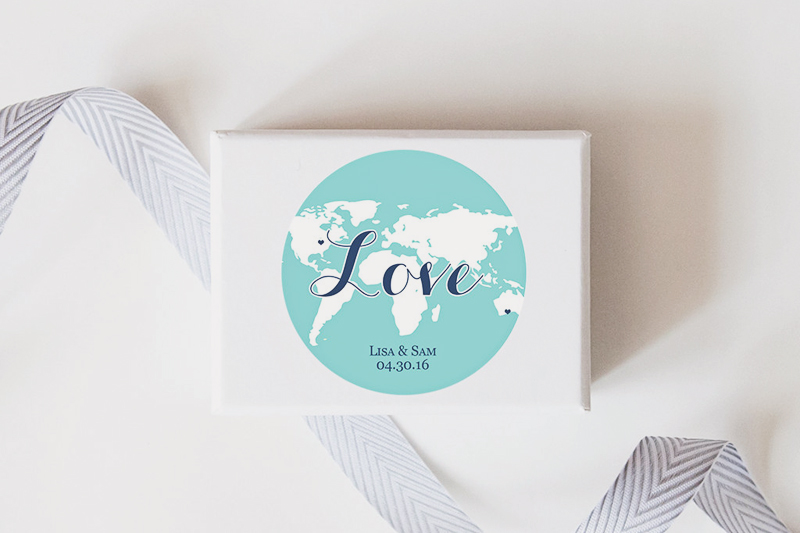 02-World Map Wedding Favor Stickers