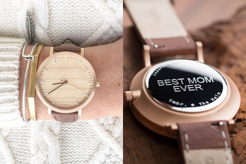03-Best Mom Ever Cherry Wood Rose Gold Watch
