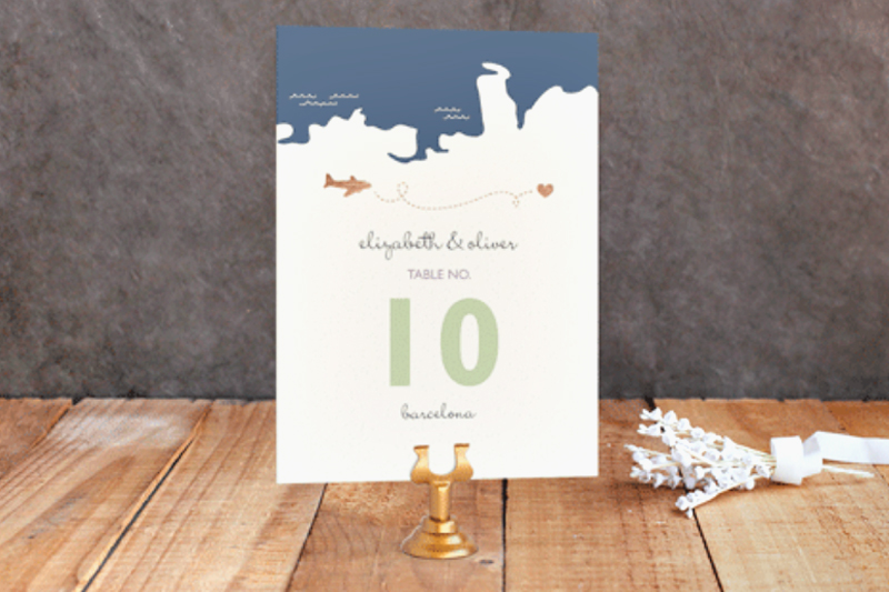 04-Long Distance Theme Rose Gold Foil table Number