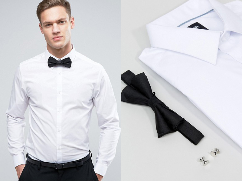 08-Burton Menswear Slim Shirt With Cuff Links & Bow Tie (1)