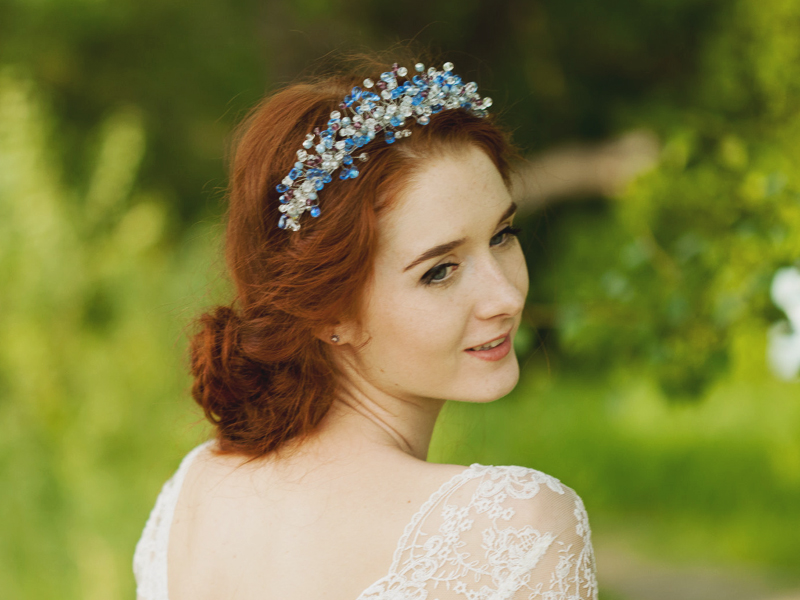 12-Aqua Blue Wedding Tiara