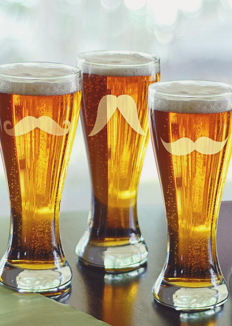 13-Mustache Pilsner Glasses (Set of 4)
