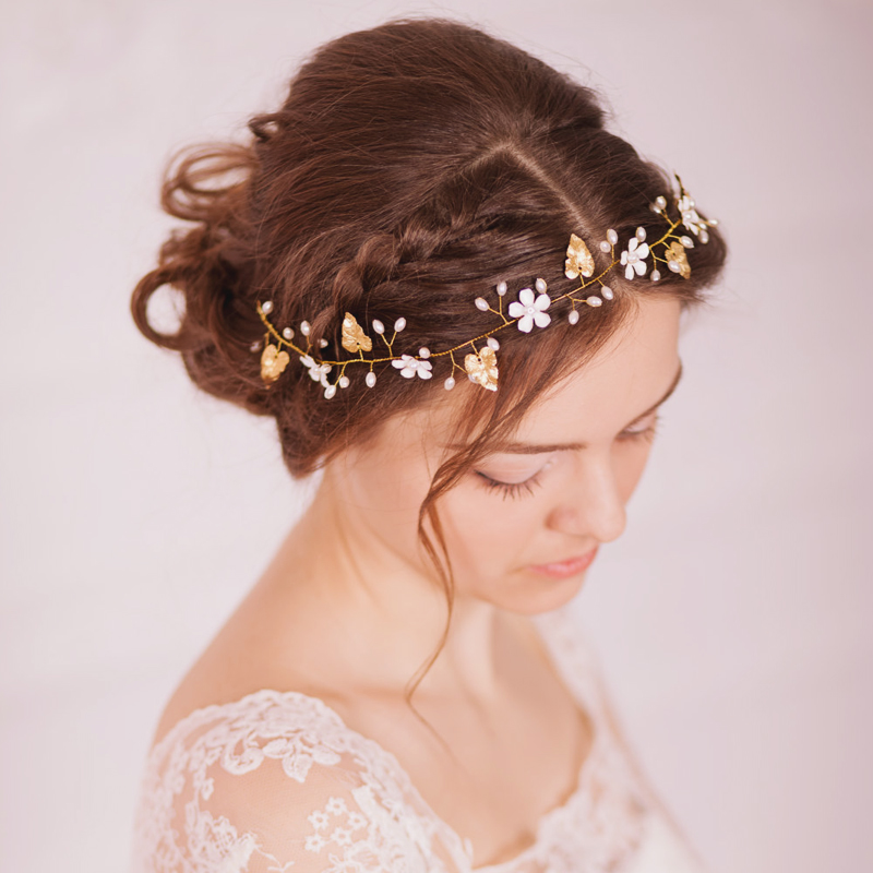 19-Golden Leaf Bridal Hair Vine