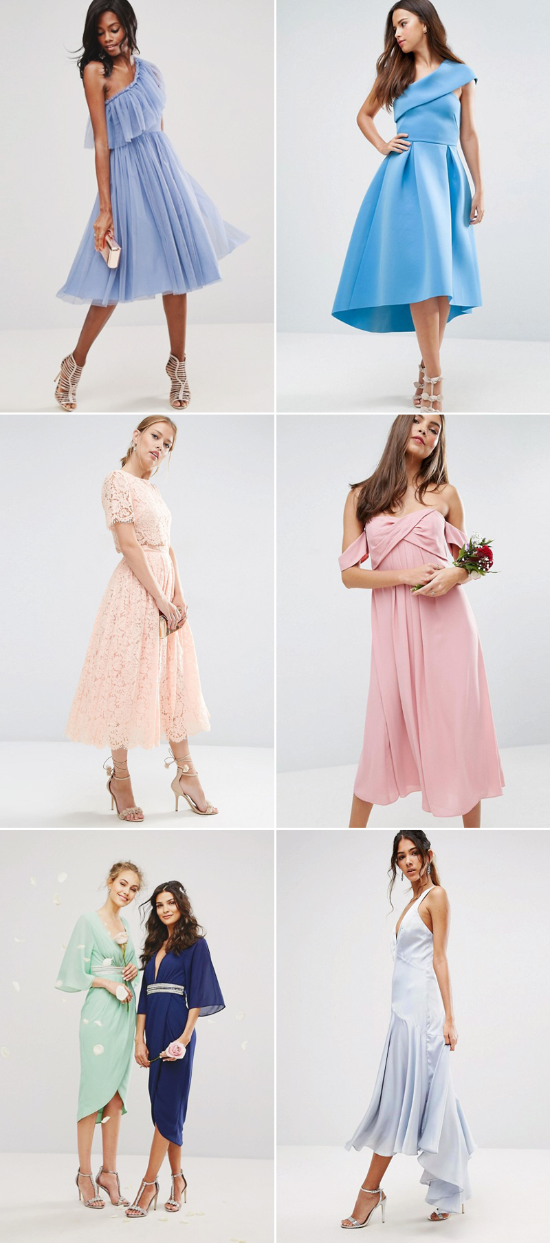 The 6 bridesmaid dress trends you need to know for this spring contemporary tea length midi dresses ombrellifo Image collections