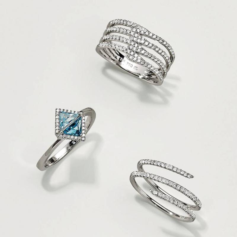04 bony levy iris double triangle diamond ring - Unconventional Wedding Rings