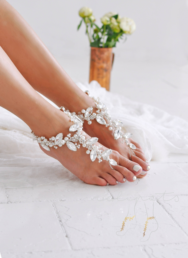 12-Crystal Barefoot Sandals