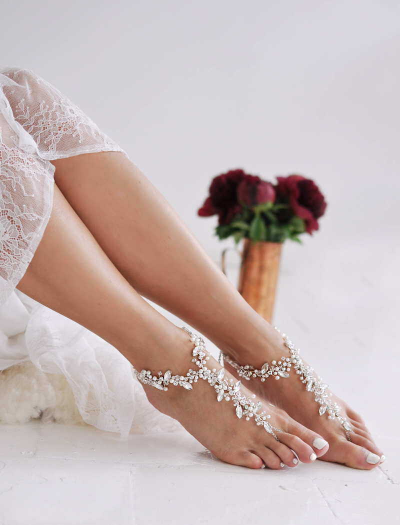 12-Crystal Barefoot Sandals