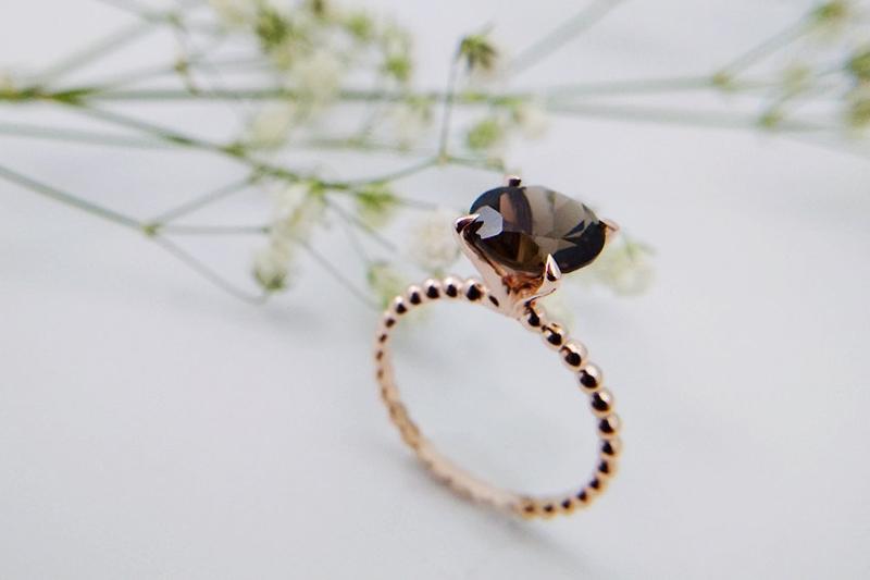 19-Smoky Quartz Rose Gold Ring