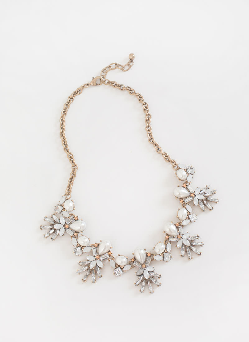 24-Pearl Crystal Statement Necklace
