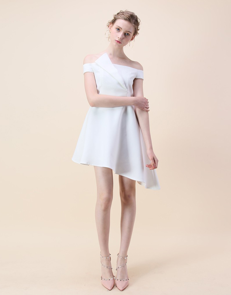 11-Chic Wish Asymmetry Off-shoulder Dress