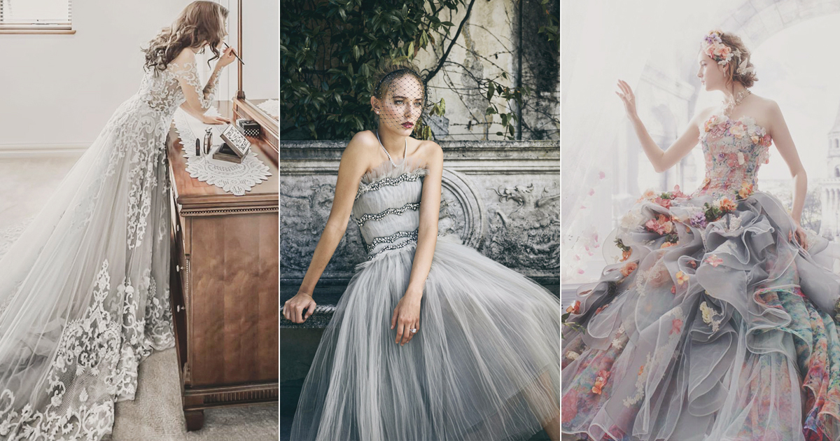 22 effortlessly dreamy grey wedding dresses for the for Gray dresses to wear to a wedding